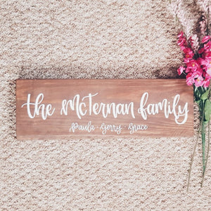 Personalised Wood Sign - Family name
