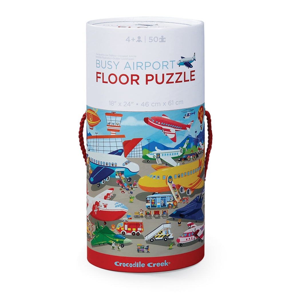 Crocodile Creek Tube Floor Puzzle - Busy Airport (50 pieces)