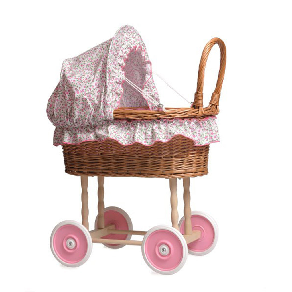 Egmont Wicker Pram with Flower Canopy & Bedding
