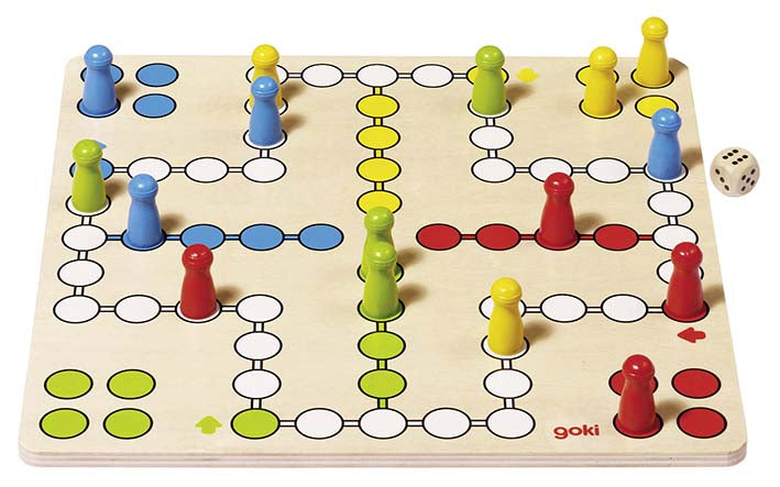 Goki Basic Wooden Ludo Board Game
