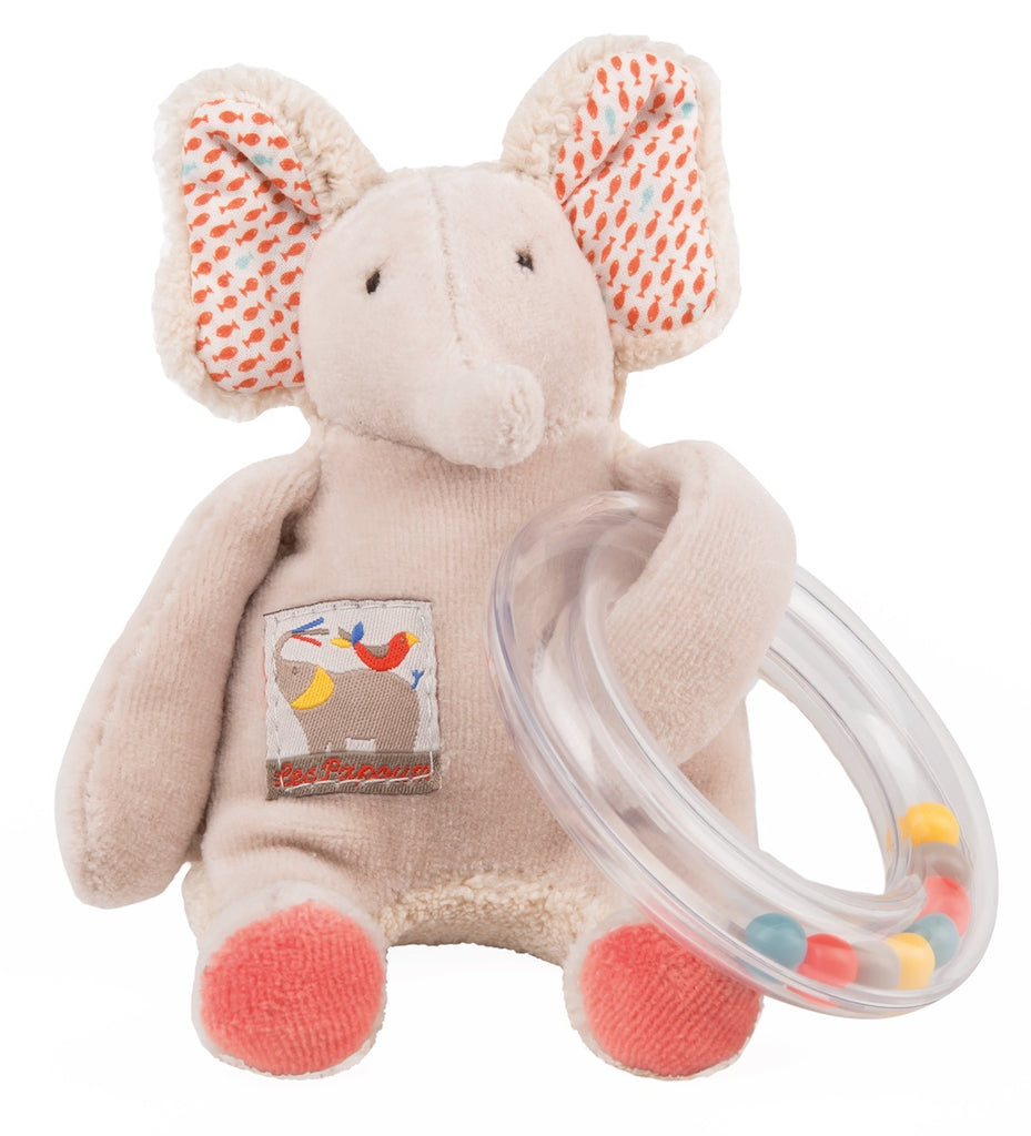 Moulin Roty Les Papoum Elephant Bead Rattle