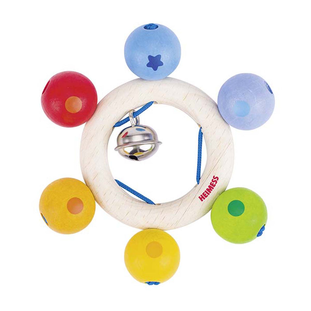 Heimess Wooden Rattle Rainbow Pearls I