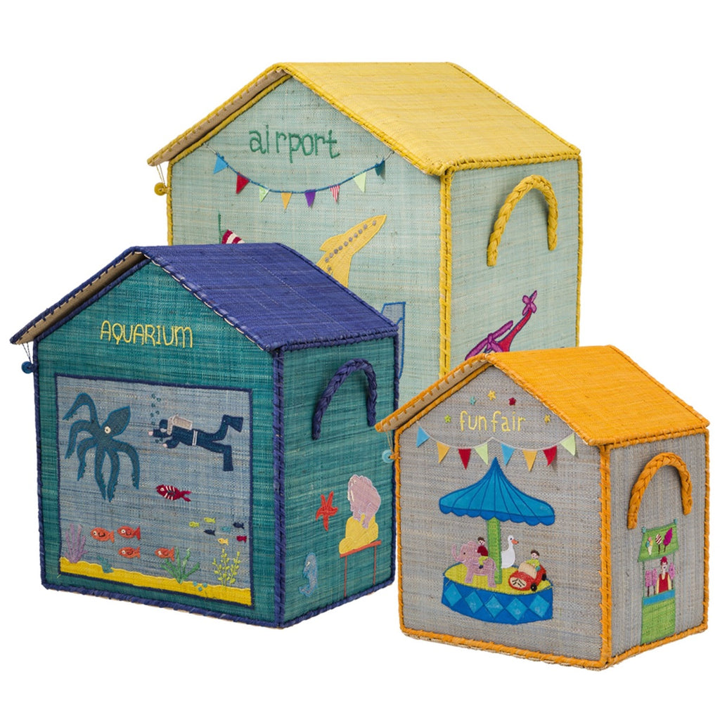 Rice DK House Toy Baskets 'Blue' - Set of 3