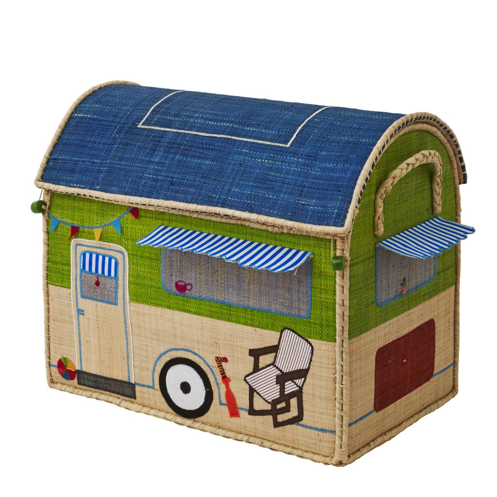Rice DK House Toy Basket 'Happy Camper' - medium
