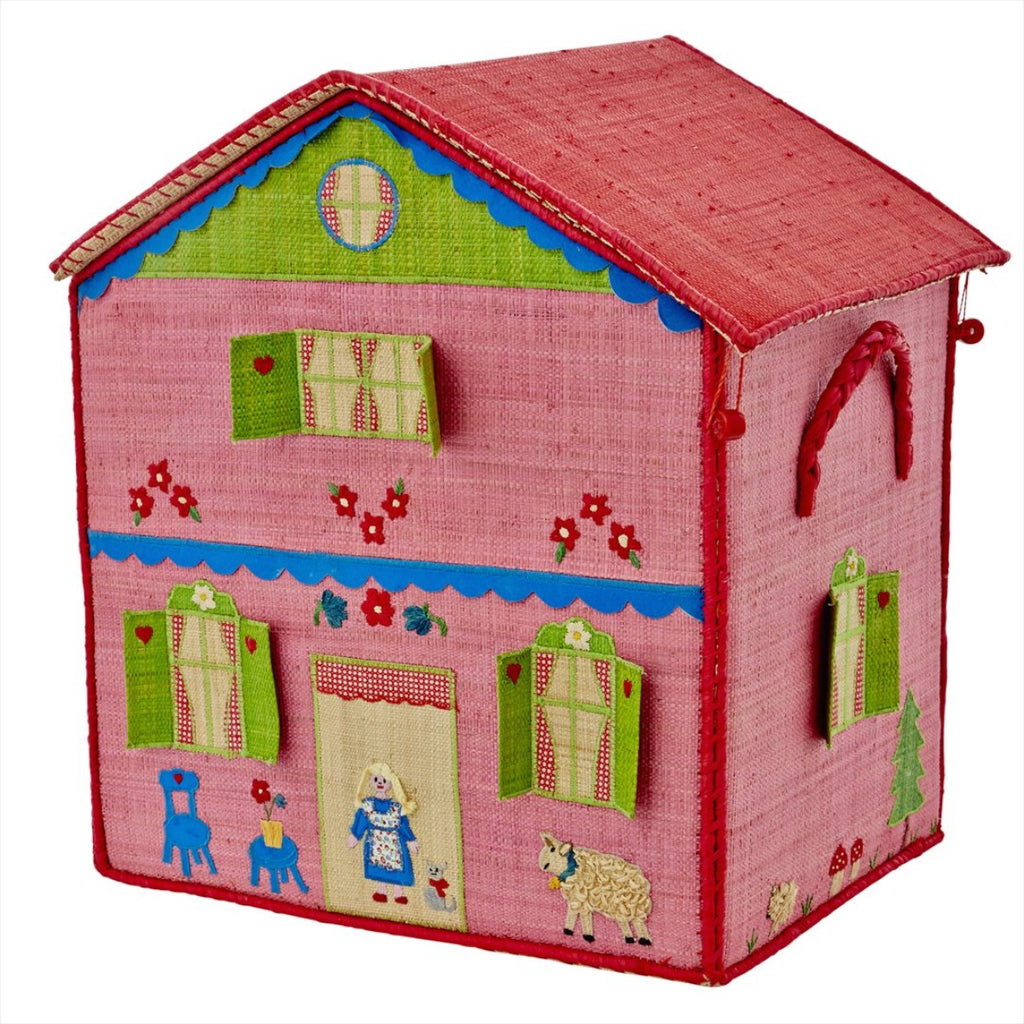 Rice DK House Toy Basket 'Girl Cottage' - large