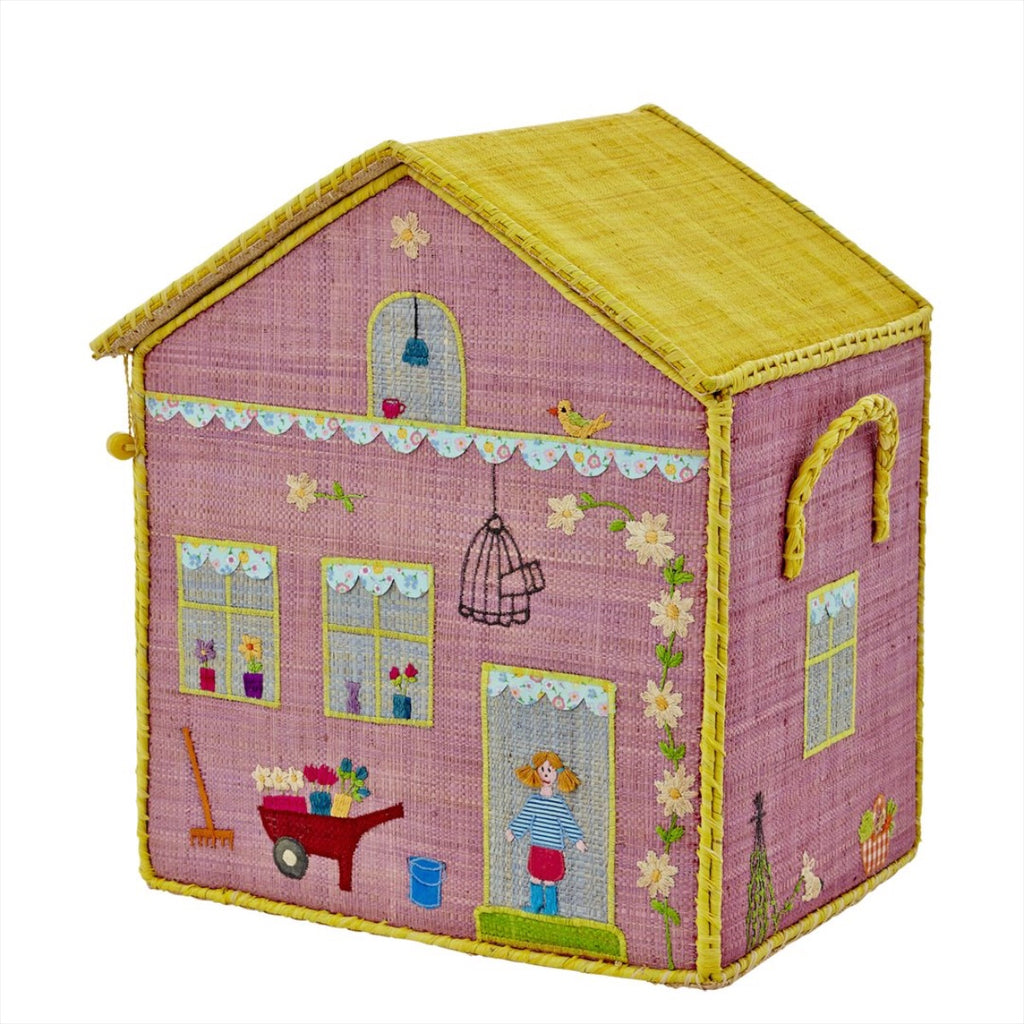 Rice DK House Toy Basket 'Girl Cottage' - medium