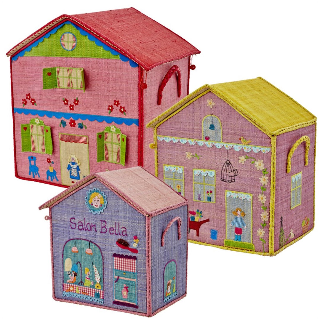 Rice DK House Toy Baskets 'Girl Cottages' - Set of 3