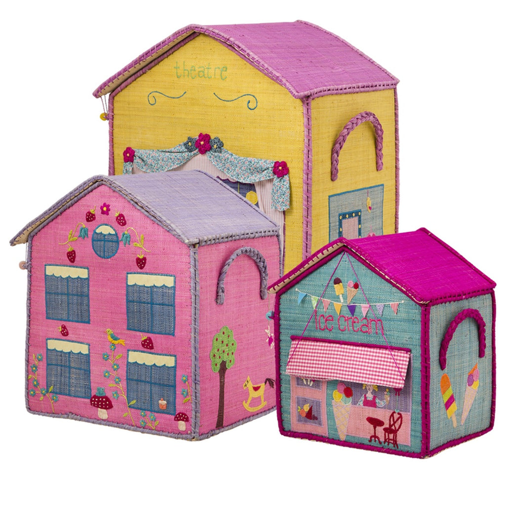 Rice DK House Toy Baskets 'Pink Houses' - Set of 3