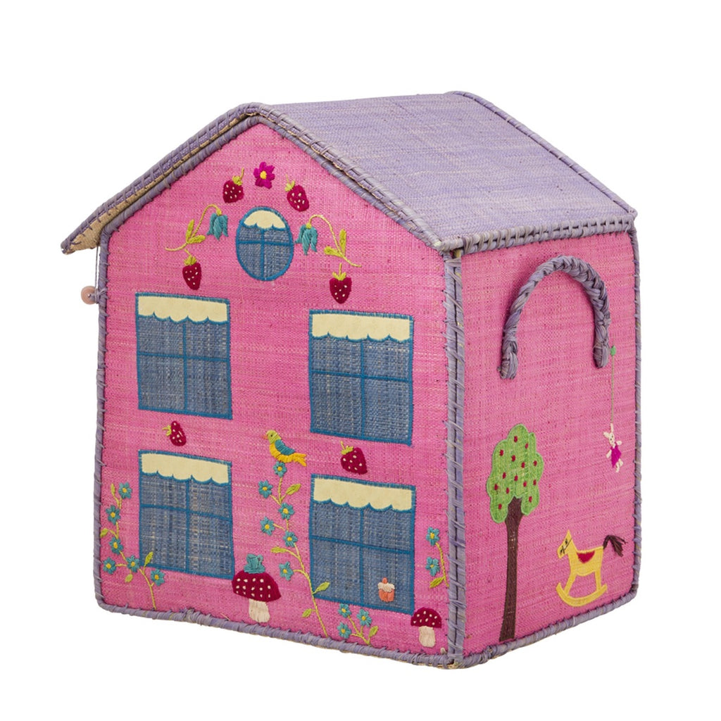 Rice DK Medium House Toy Basket - Pink House