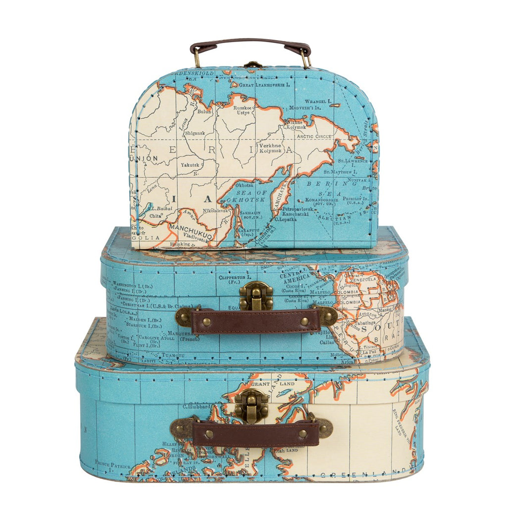 Sass & Belle Vintage Map Suitcases - Set of 3
