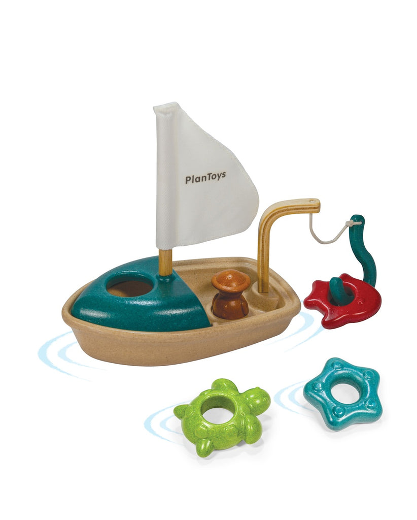 Plan Toys Wooden Bath Toy Activity Sailboat