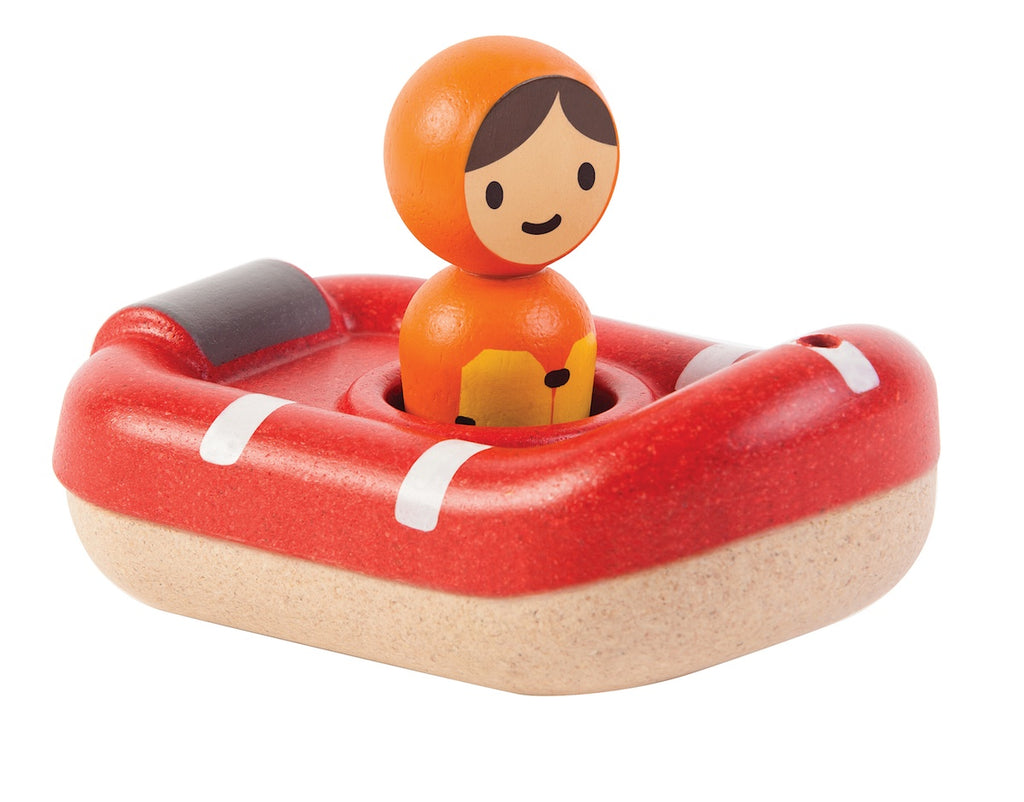 Plan Toys Wooden Bath Toy Coastguard Boat