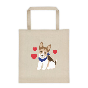 Saylor dog love hearts tote bag