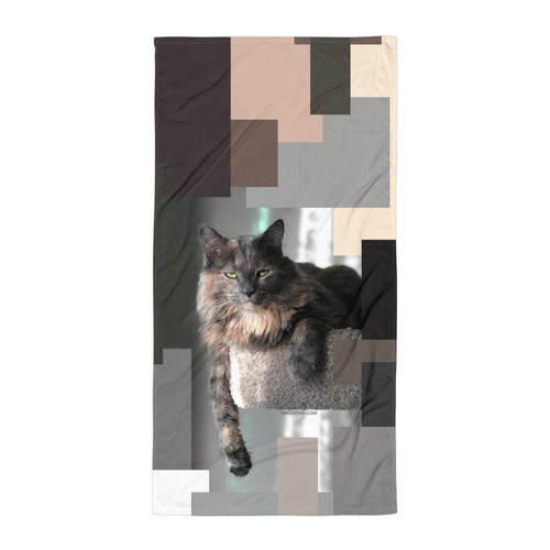 Geo Gray Cat - Beach Towel