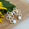 Honeycomb Bee Earrings