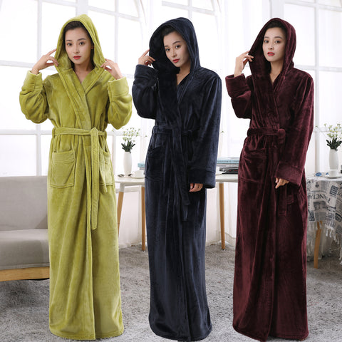 Women Hooded Extra Long Warm Bathrobe Hot Thickening Flannel Winter Kimono  Bath Robe Men Thermal Dressing 91a7322d9