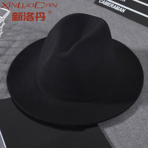 Wool Wide Brim Fedora Pure Felt Bowler Hat Dome Bucket Hat For Women  British Style Feminino 62318a16d278