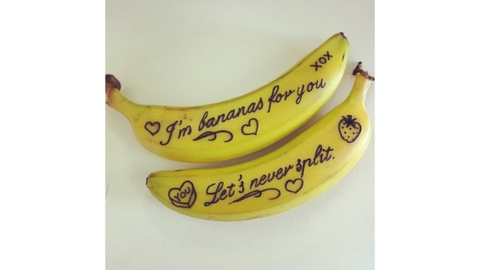 Bananas with written messages