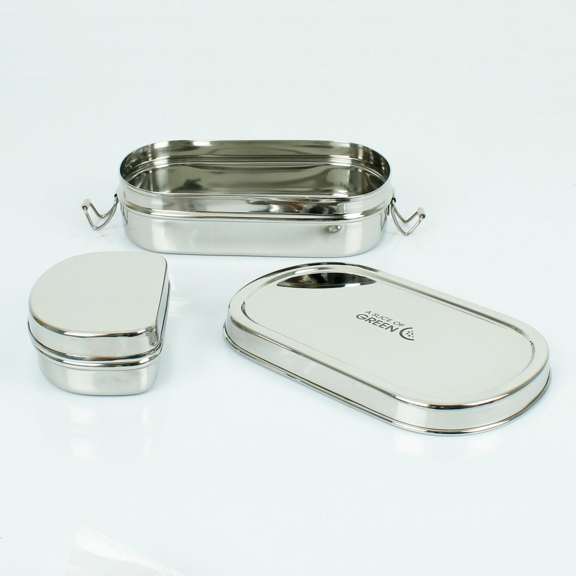 Oval Stainless Steel Lunch Box with Mini Container (Kangra) open - A Slice of Green