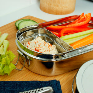 Stainless Steel Lunch Box with Mini Container (Kangra) in use - A Slice of Green