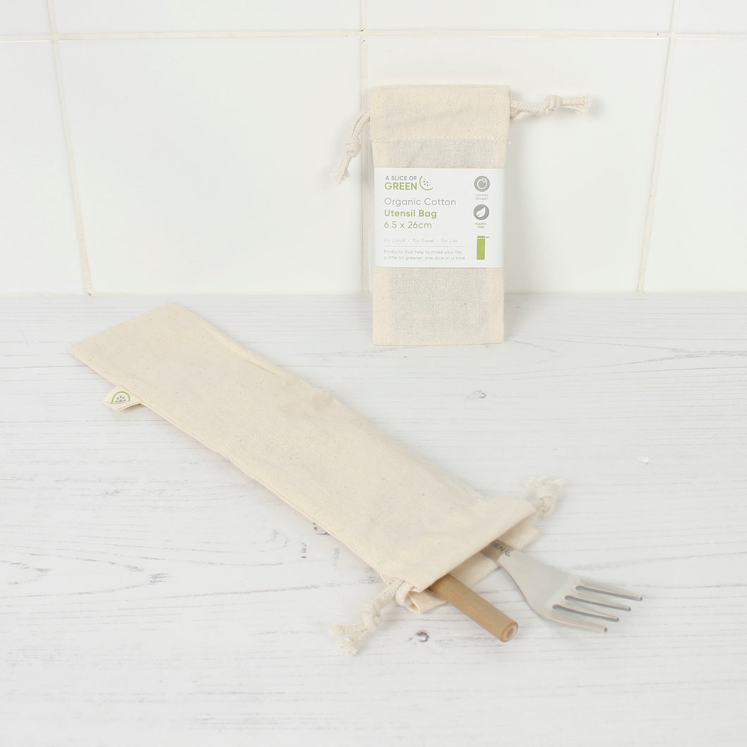 Organic Cotton Utensil Bag - A Slice of Green