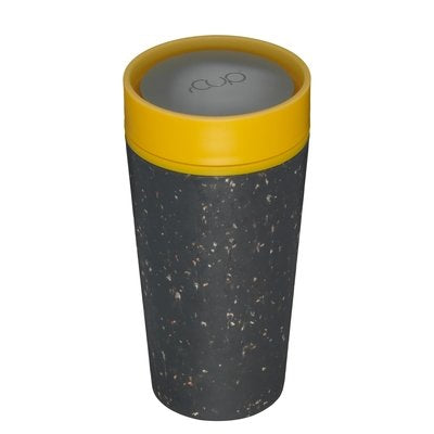 rCUP Recycled Reusable Leak Proof Cup, 340ml, Black/Mustard