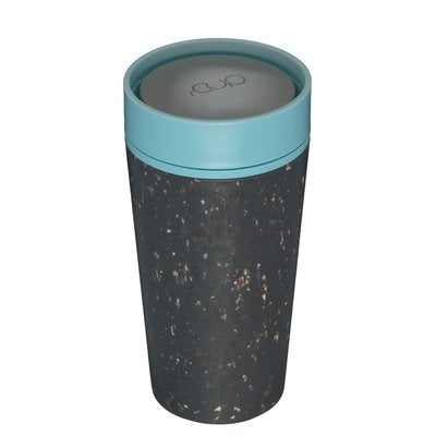 rCUP Recycled Reusable Leak Proof Cup, 12oz/340ml, Black and Teal