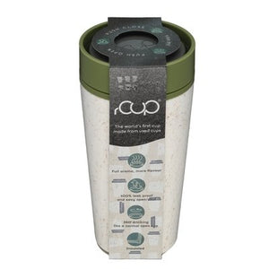 rCUP Recycled Reusable Leak Proof Cup, 12oz/340ml, Cream and Green
