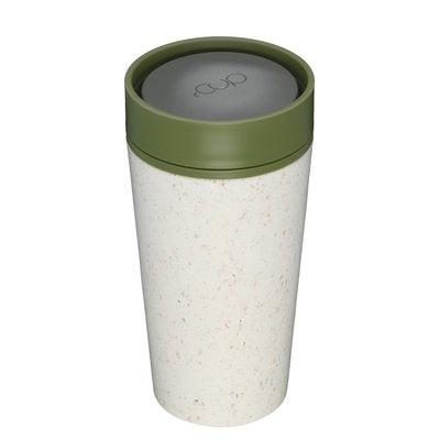 rCUP reusable cup 12oz cream/green