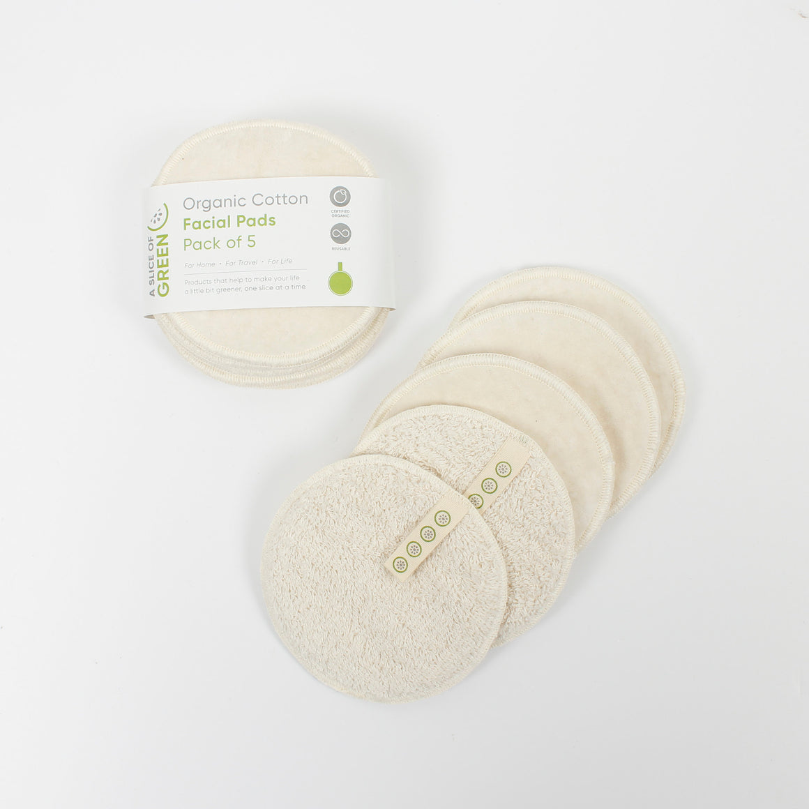 A Slice of Green Organic Cotton Facial Rounds x 5