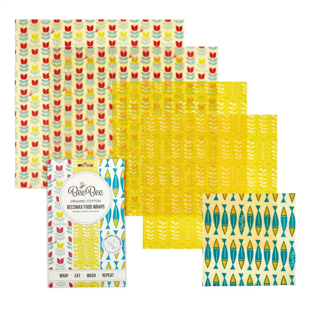 BeeBee Organic Cotton Beeswax Wraps - Family Pack (5 mixed size wraps)