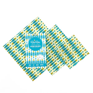BeeBee Organic Cotton Beeswax Wraps - Sardines (3 mixed sizes pack)
