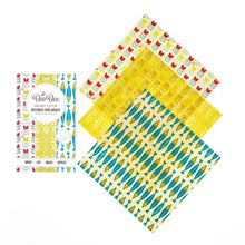 Load image into Gallery viewer, BeeBee Organic Cotton Beeswax Wraps - The Cheese Collection (3 x medium size wraps)