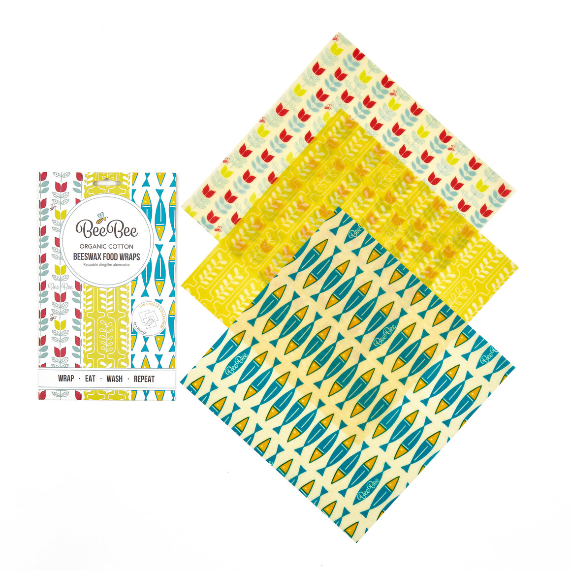 BeeBee Organic Cotton Beeswax Wraps - The Cheese Collection (3 x medium size wraps)