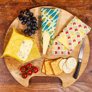 BeeBee Organic Cotton Beeswax Wraps - The Cheese Collection (3 x medium size wraps) in use
