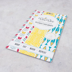 BeeBee Organic Cotton Beeswax Wraps - The Cheese Collection (3 x medium size wraps) packaging
