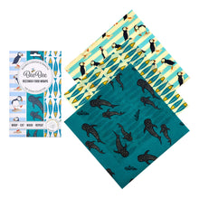 Load image into Gallery viewer, BeeBee Organic Cotton Beeswax Wraps - The Cheese Collection Ocean (3 x medium size wraps)