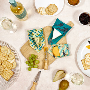 BeeBee Organic Cotton Beeswax Wraps - The Cheese Collection Ocean (3 x medium size wraps)
