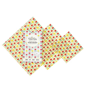 BeeBee Organic Cotton Beeswax Wraps - Tulip (3 mixed sizes pack)