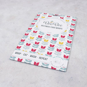 BeeBee Organic Cotton Beeswax Wraps - Tulip (3 mixed sizes pack) packaging