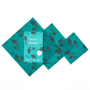 BeeBee Organic Cotton Beeswax Wraps - Whale Pod (3 mixed sizes pack)