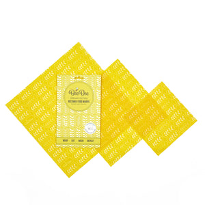 BeeBee Organic Cotton Beeswax Wraps - Wheat Yellow (3 mixed sizes pack)