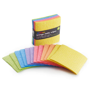 Compostable Rainbow Sponge Cloths Wipes 12 Pack