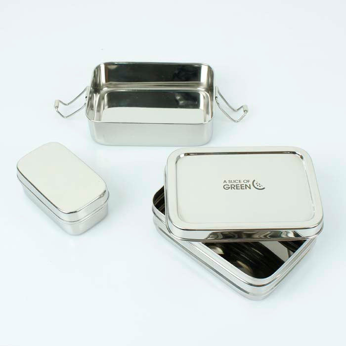 Two Tier Stainless Steel Lunch Box with Mini Container (Panna) - A Slice of Green