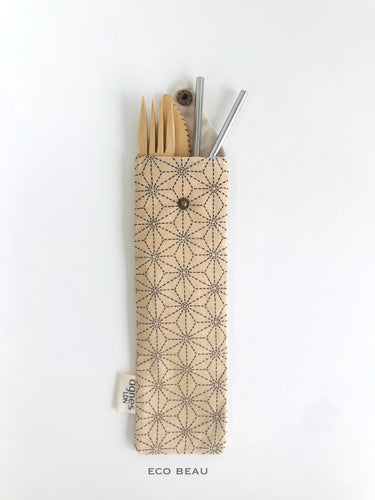 Agnes LDN Cream Pattern Cutlery/Straw Pouch