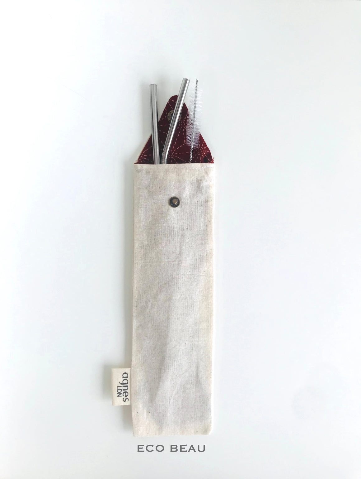Plain with Red Lining Agnes LDN Cutlery/Straw Pouch