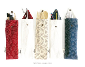 Blue (Large Patterned) Cutlery/Straw Pouch - Agnes LDN
