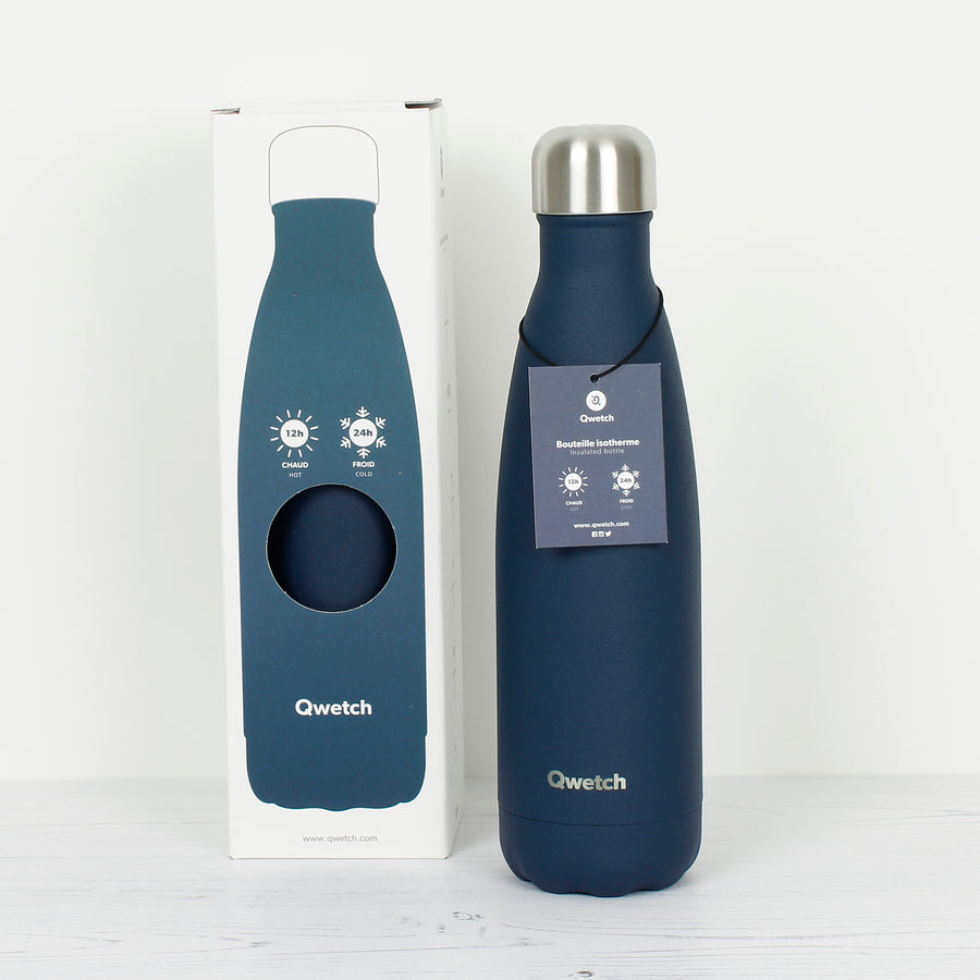 Qwetch Midnight Blue Insulated Stainless Steel Bottle 500ml