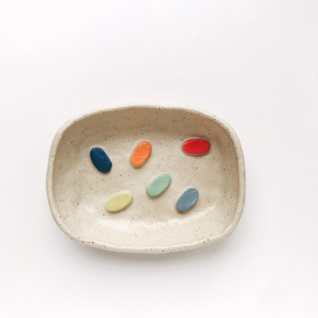 Handmade Speckled Stoneware Clay Soap Dish (Colourful Dots) - Beci Callow