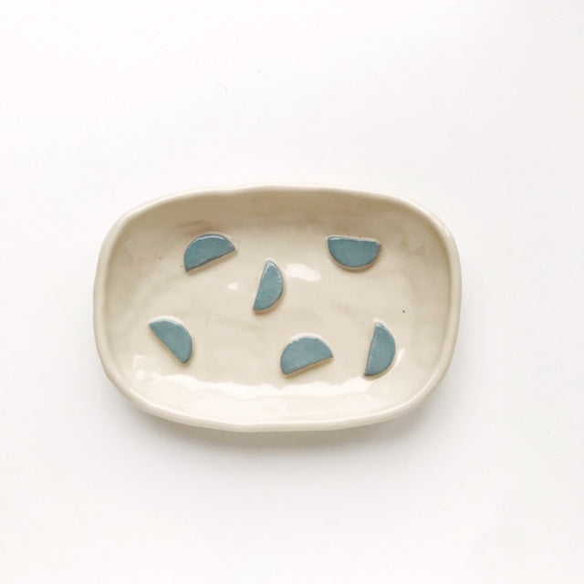 Handmade Stoneware Clay Soap Dish (Light Blue Semi Circle) - Beci Callow